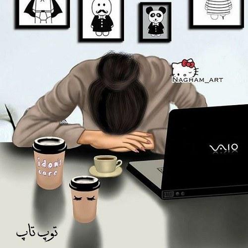 نقاشی از دختری که خیلی خسته شده و سرش روی میز