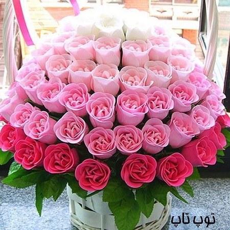 دسته گل با رنگ های مختلف و جذاب بصورت رمانتیک برای پروفایل