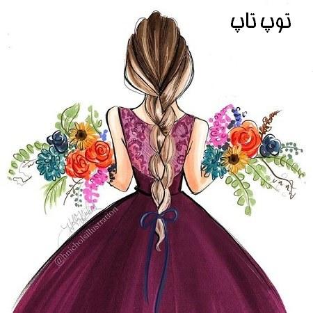 عکس پروفایل دختری که دو تا دسته گل بزرگ تو دستشه از پشت
