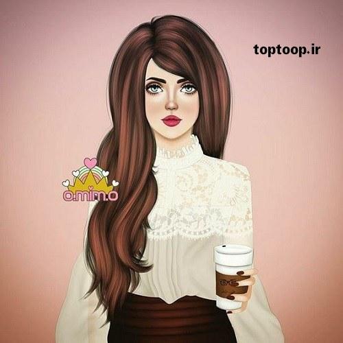 عکس پروفایل دخترونه تمام قدی با موهای قهوه ای بلند و هوشجل