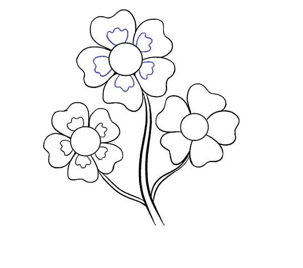 قدم به قدم برای نقاشی گل کارتونی