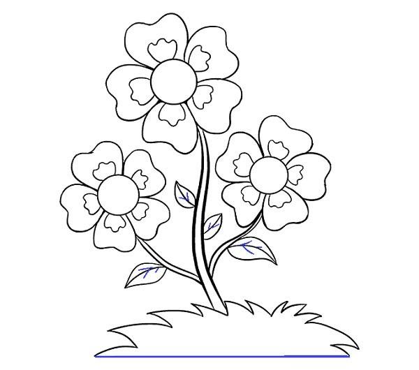 مراحل کشیدن گل کارتونی زیبا