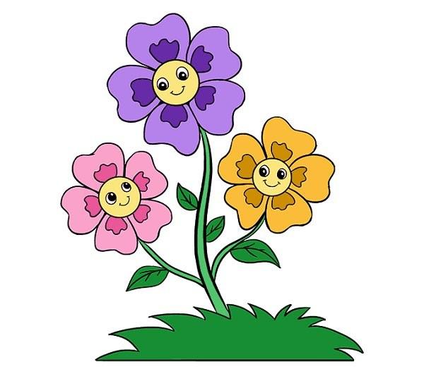 رنگ آمیزی نقاشی گل کارتونی