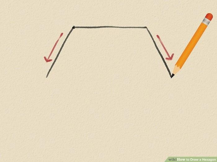 کشیدن دو خط مورب در انتهای خط افقی