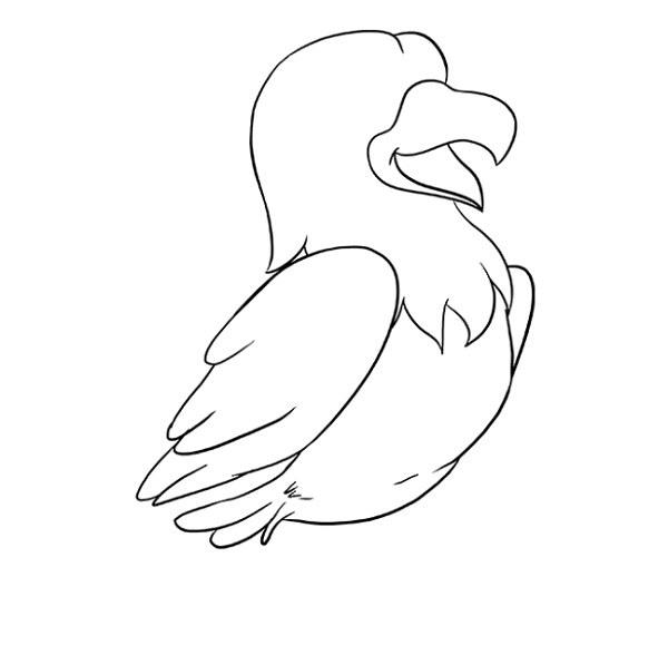 نقاشی شاهین کارتونی برای کودکان مرحله 6