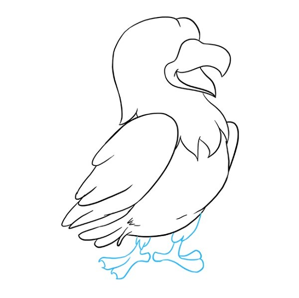 نقاشی کودکانه شاهین کارتونی مرحله 7