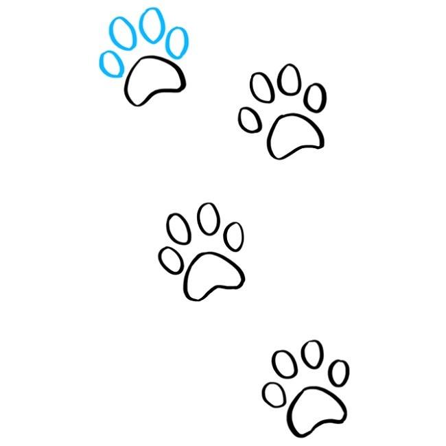 نقاشی قدم به قدم رد پای پنجه گربه (9)