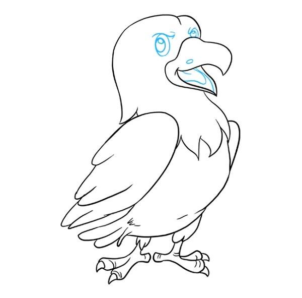 آموزش نقاشی شاهین کارتونی برای کودکان مرحله 9
