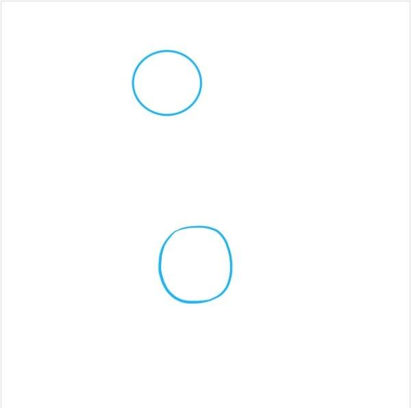 با کشیدن دو دایره شروع کنید