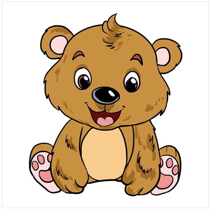 رنگ آمیزی نقاشی بچه خرس