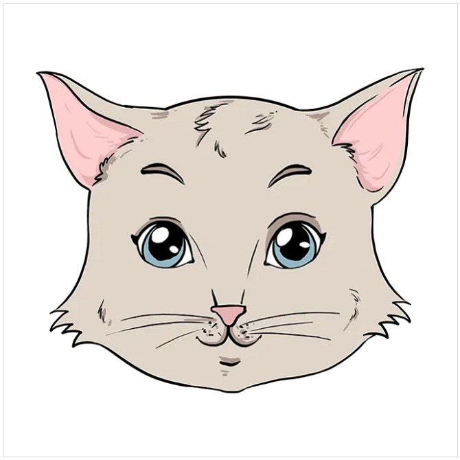 رنگ آمیزی نقاشی صورت گربه
