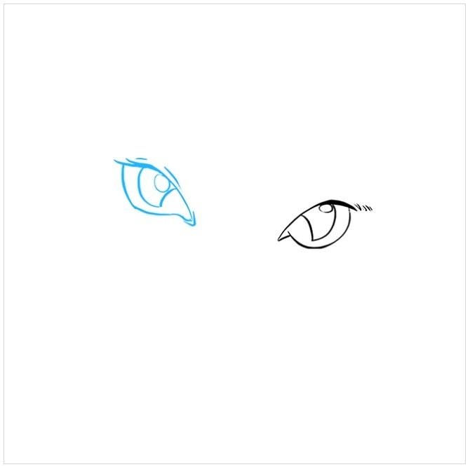 آموزش نقاشی چشم های گربه مرحله دوم