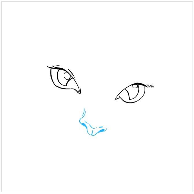 نقاشی کودکانه چشم های گربه مرحله سوم
