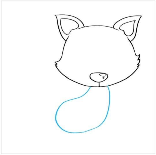 نقاشی کودکانه توله روباه مرحله چهارم