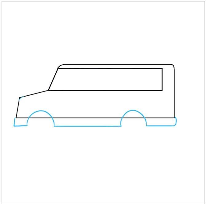 نقاشی کودکانه اتوبوس مدرسه مرحله چهارم