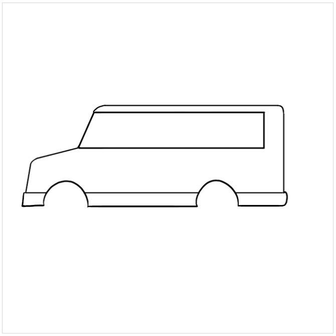 نقاشی اتوبوس مدرسه برای بچه ها مرحله پنجم