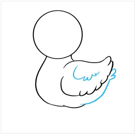 نقاشی کودکانه جوجه اردک مرحله چهارم