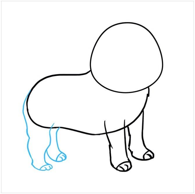 نقاشی کودکانه سگ پاکوتاه مرحله چهارم
