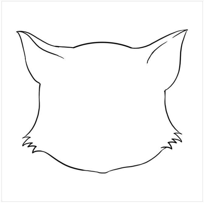 نقاشی کودکانه صورت گربه مرحله پنجم
