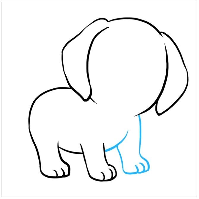 نقاشی کودکانه توله سگ پاپی مرحله پنجم