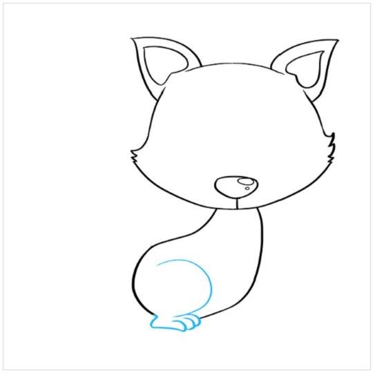 نقاشی توله روباه برای کودکان مرحله پنجم