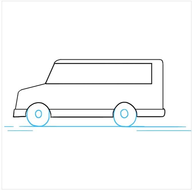 نقاشی آسان اتوبوس مدرسه مرحله ششم