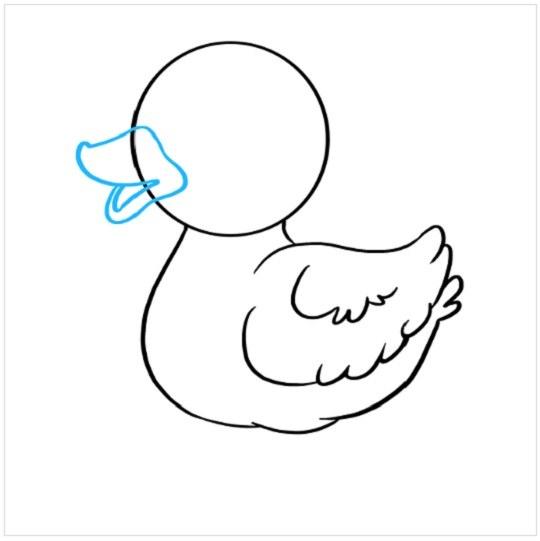 نقاشی جوجه اردک برای کودکان مرحله پنجم