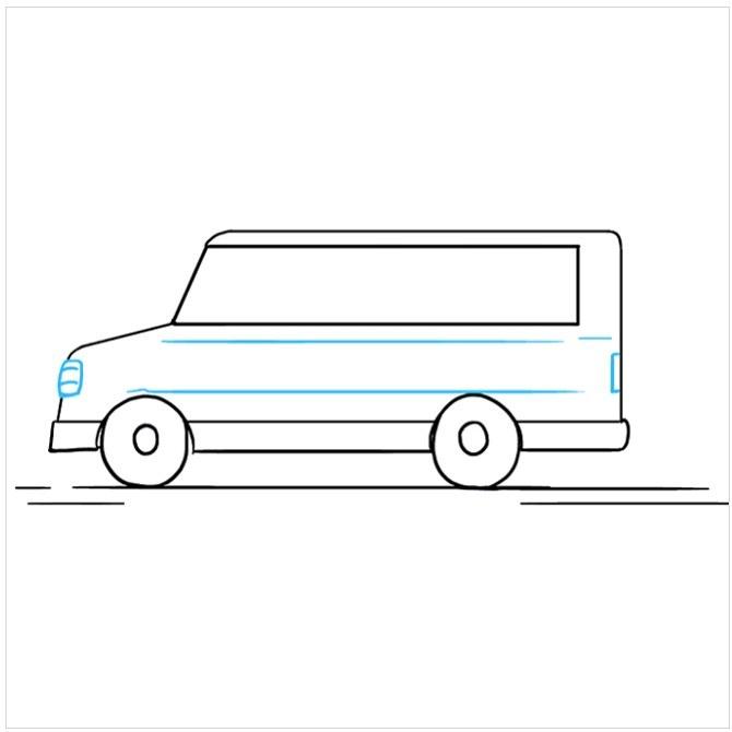 کشیدن نقاشی اتوبوس مدرسه مرحله هفتم