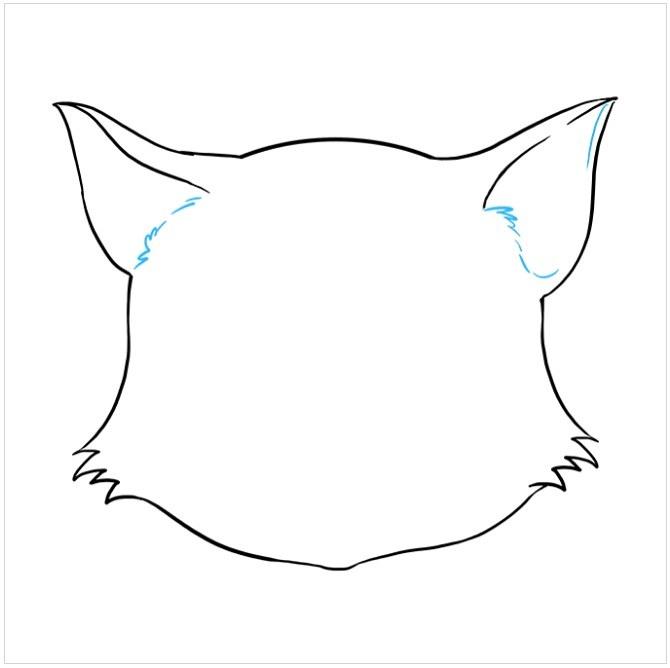 نقاشی صورت گربه برای کودکان مرحله ششم