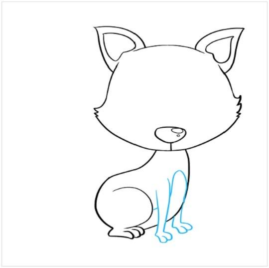 نقاشی آسان توله روباه مرحله ششم