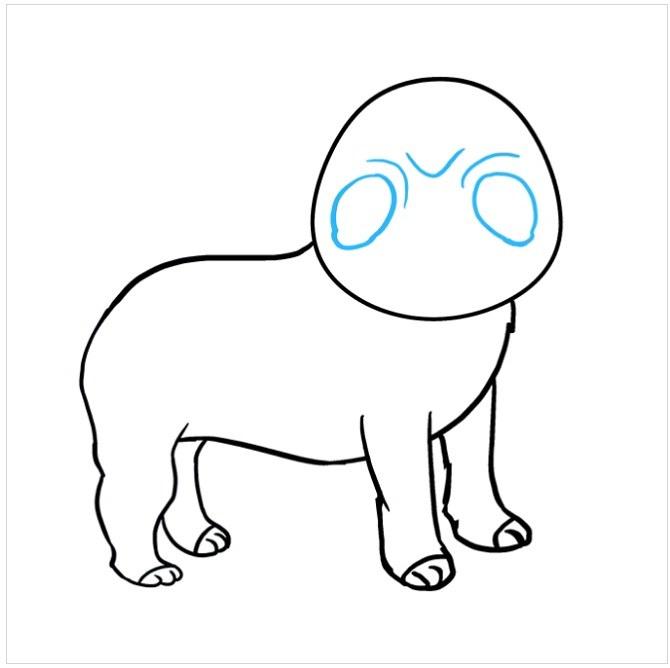 نقاشی آسان سگ پاکوتاه مرحله ششم