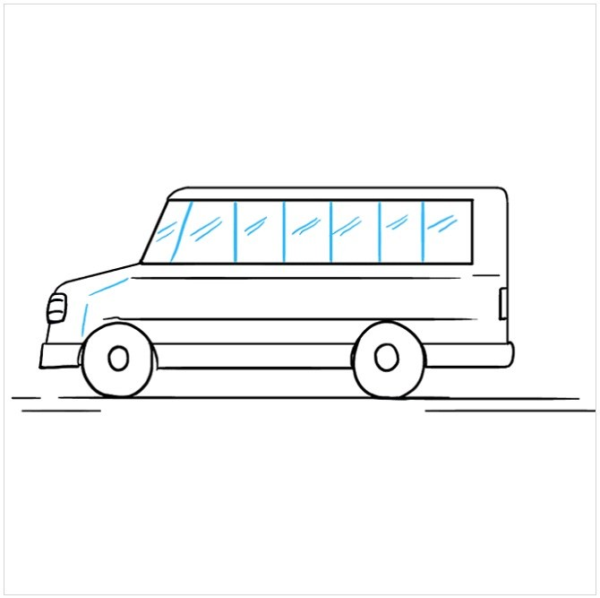 آموزش رسم اتوبوس مدرسه مرحله هشتم
