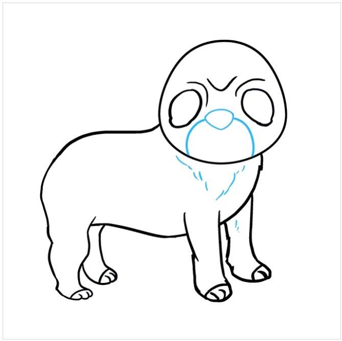 نقاشی سگ پاکوتاه برای بچه ها مرحله هفتم