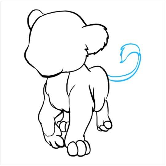 روش کشیدن نقاشی توله شیر مرحله هفتم