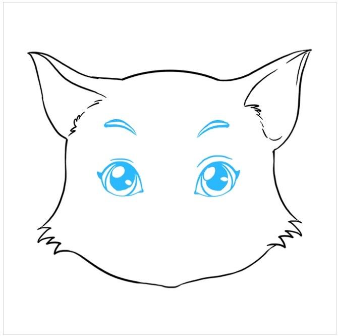 نقاشی آسان صورت گربه مرحله هفتم