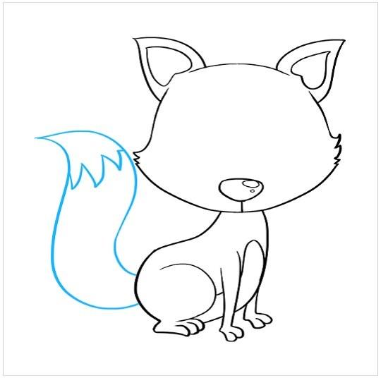نقاشی توله روباه مرحله هفتم
