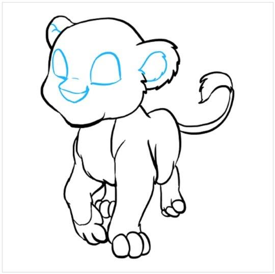 آموزش نقاشی بچه شیر مرحله هشتم
