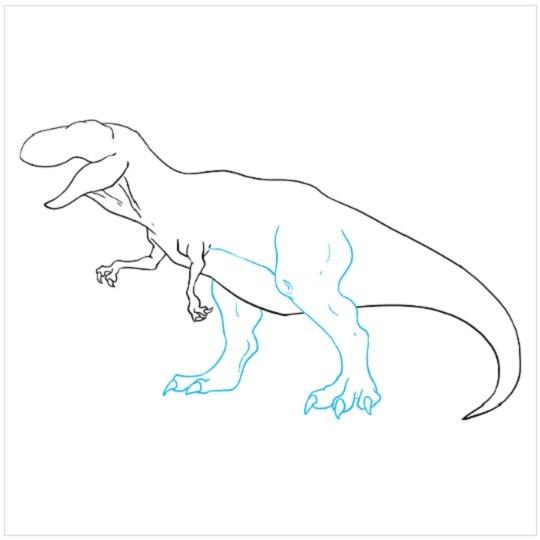 گام به گام نقاشی دایناسور مرحله هشتم