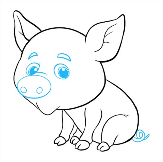 روش کشیدن نقاشی توله خوک مرحله هشتم