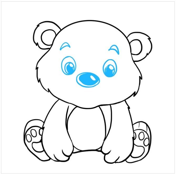 آموزش نقاشی بچه خرس مرحله هشتم