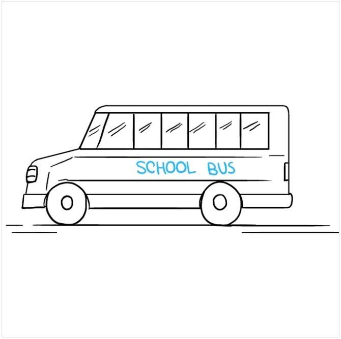 نقاشی اتوبوس مدرسه مرحله نهم