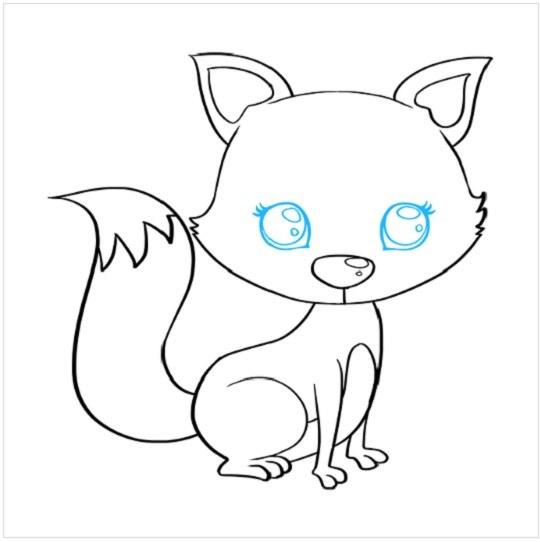 روش کشیدن نقاشی توله روباه مرحله هشتم