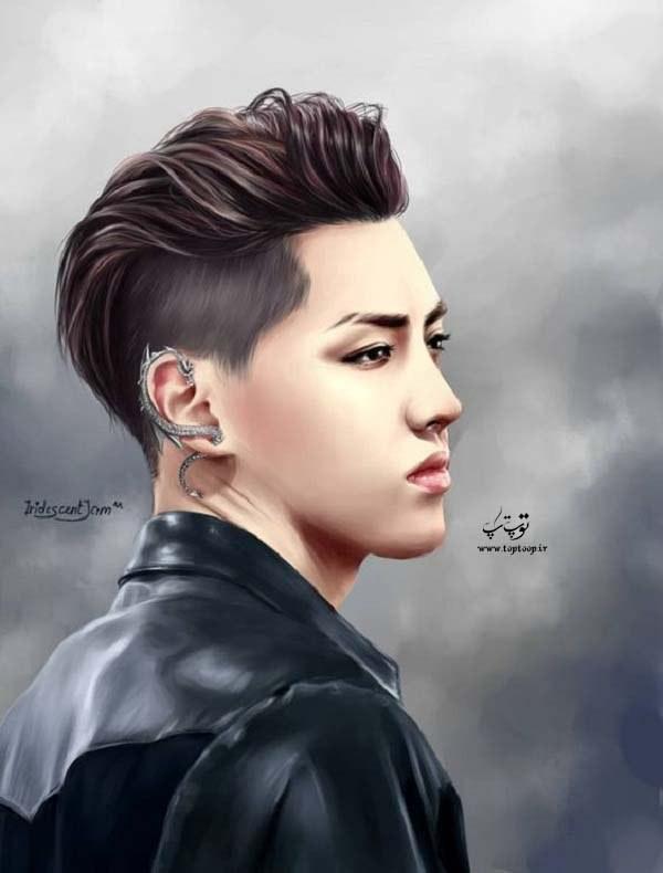 عکس پسر خوشگل و جوان کره ای نقاشی شده