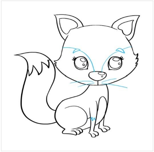 نقاشی توله روباه مرحله نهم