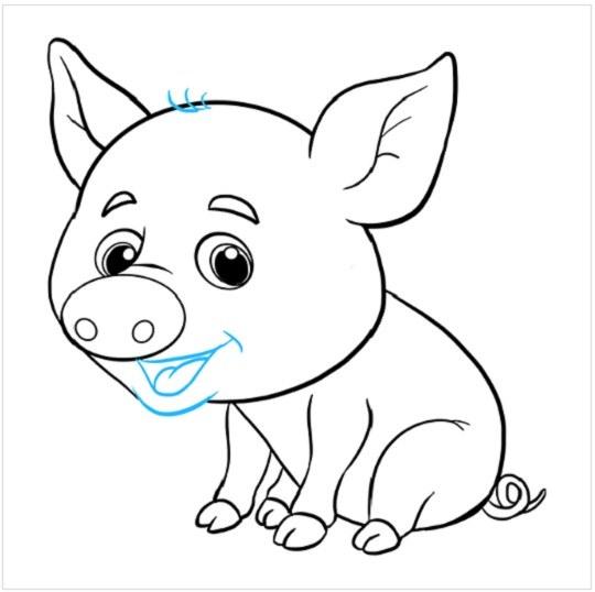 آموزش نقاشی بچه خوک مرحله نهم