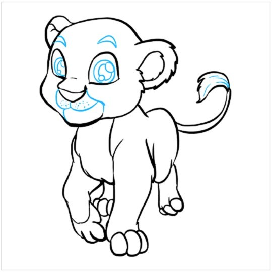 آموزش نقاشی بچه شیر مرحله نهم