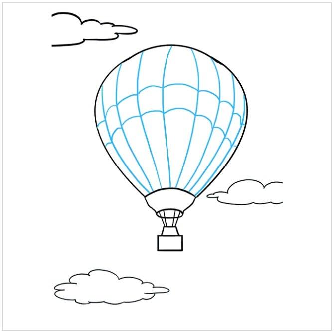 نقاشی بالون هوایی برای بچه ها مرحله نهم