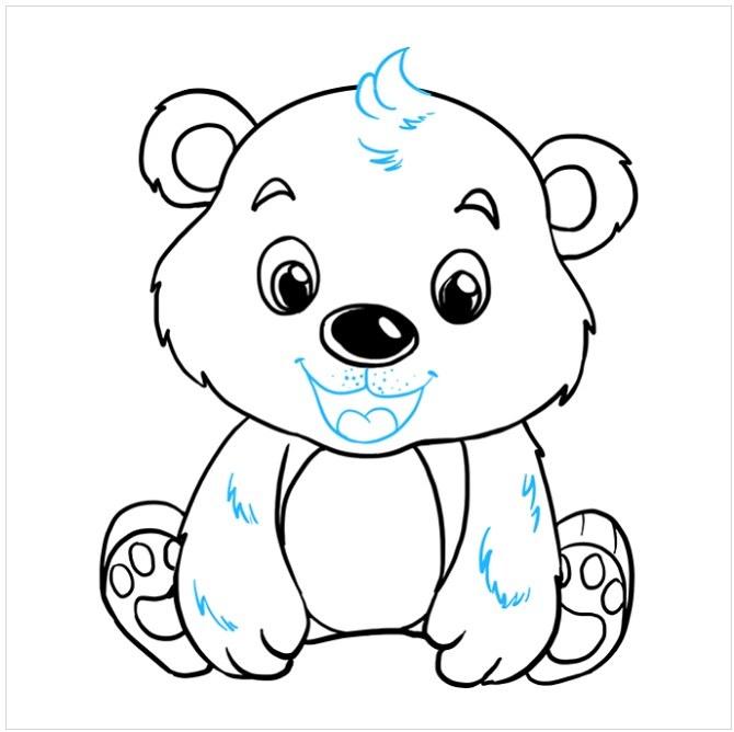 نقاشی قدم به قدم بچه خرس مرحله نهم