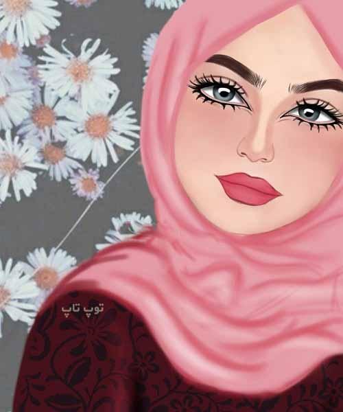 نقاشی دخترونه با مقنعه و حجاب