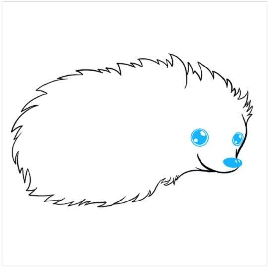 آموزش نقاشی کودکانه جوجه تیغی